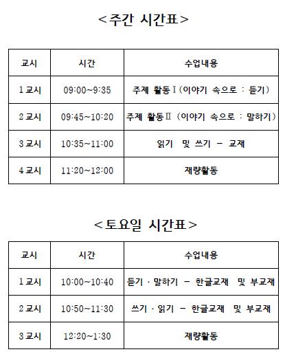 이화 한글학교 시간표.PNG